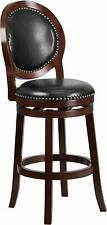 30'' High Cappuccino Wood Barstool with Oval Back and Swivel Seat New