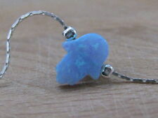Hamsa bracelet, silver bracelet, opal hamsa bracelet, blue opal bracelet, hand