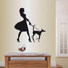 Vinyl Decal Pretty Elegant Woman Lady Walking Dog Fashion Style Sticker 1311