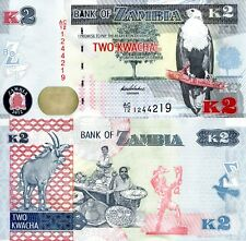 ZAMBIA 2 Kwacha Banknote World Money Currency Africa Note Eagle Bird p49 BILL