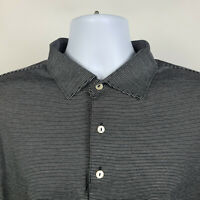 Peter Millar Black White Striped Mens Adult Polo Shirt Size Large L