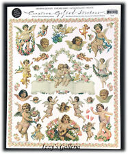 Vintage Gifted Line Victorian Cherubs & Roses Hearts Love Borders Stickers 8x10