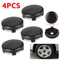 4× 60mm Car Wheel Rim Hub Carbon Fiber Auto Center Caps Cover Plastic Accessory