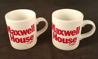 Vintage Maxwell House Coffee Mugs England White Ceramic Red Lettering Lot Of 2