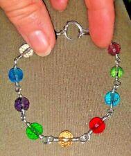 Wire wrapped Artisan Handmade Multicolor Quartz Glass Bracelet Silver JMe ⭐️