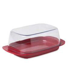 Rosti Mepal Plastic Butter Dish, Clear with Luna Red Base Melamine Breakfast