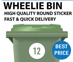 BIN NUMBER STICKER WITH YOUR HOUSE OR ROAD NUMBER ROUND SHAPE FOR WHEELE BINS