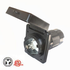 Black Marine Boat RV Shore 50A 125/250V Power Cord Twist Lock Inlet Grounding