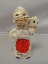 Vintage COMMODORE JAPAN Mrs Santa Shopper Candle Holder Figurine