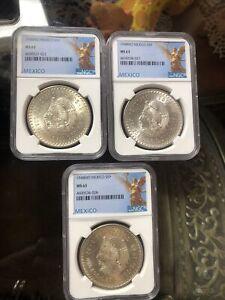 1948 mexico silver 5 pesos cuauhtemoc Lot Of Three Coins MS63