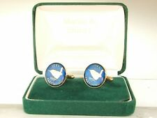 1944 Farthing Cufflinks made from real coins in Blue & Gold