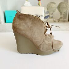 Jimmy Choo Baxter Suede Wedge Boots, Sz 36