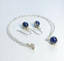 Lapis Lazuli Jewelry Set Sterling Necklace Earrings Minimalist Sundance Style