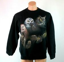 VTG 80s Black OWL Horney Snowy Barn ART SWEATSHIRT Sz L Glitter Logo Metallic