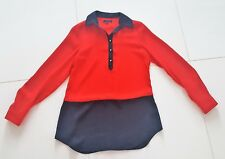 WOMENS NAVY BLUE & RED ANNE KLEIN SHIRT SIZE SMALL CHIC CLASSY NAUTICAL BLOUSE