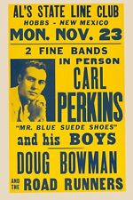Rockabilly Great: Carl Perkins at Hobbs, New Mexico Concert Poster 1959  12x18