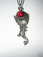 NEW FLYING FANTASY DRAGON w DEEP RED ORB USA PEWTER PENDANT ADJ CORD NECKLACE