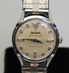 NICE! 14K Gold 23J Men's BULOVA Self-Winding  Wrist Watch W/ .20ct Diamond Dial