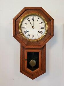 Antique 8 Day Schoolhouse Regulator Wall Clock Oak Long Drop Germany Works