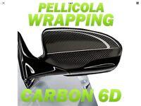 PELLICOLA Car Wrapping Carbonio 6D 152x50cm Adesivo 3M RACING AUTO MOTO TUNING