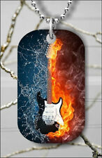 GUITAR FIRE VS WATER DOG TAG PENDANT NECKLACE FREE CHAIN -lgh7Z