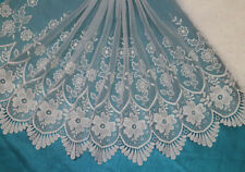 1 Yard Off White Embroidery Tulle Lace Trim/Fabric For Bridal Dress Wide 43 CM