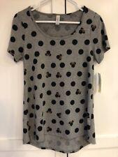NWT LuLaRoe Disney Minnie Mouse Black Polka Dot Classic T Grey Top Size XS HTF