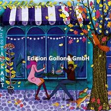 *MILA MARQUIS*Postkarte*Mädchen*lesend*Paris`Cafe*Fahrrad*Glitzereffekt*14x14cm