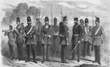 UNIFORMS. Bugler; Sgt; LCpl; Officer; Private; Drummer, antique print, 1856