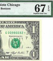 1993 $1 CHICAGO * STAR * ⭐️  BANKNOTE, PMG SUPERB GEM UNCIRCULATED 67 EPQ, 2nd