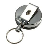 1PC Retractable Card Badge Holder Steel Recoil Ring Belt Clip Pull Key Chain