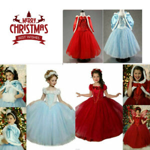 Girls Kids Elsa Princess Fancy Dress Up Cosplay Costume Party Hooded Xmas GiftsS