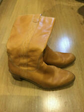 Clarks Tan womens real Leather Knee Length Cowboy Style Boots Size 6