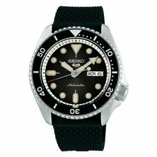 *BRAND NEW* SEIKO 5 MEN'S AUTOMATIC BLACK DIAL BLACK SILICONE BAND WATCH SRPD95