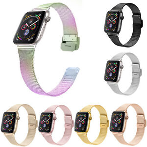 Stainless Steel Milanese Loop Strap For Apple Watch Band 44mm 40mm 42/38mm Belt