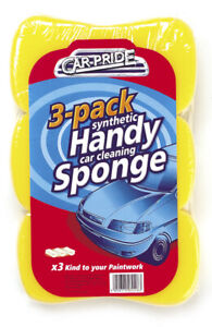 Car Pride Synthetic Handy Car Cleaning Sponges - Pack of 3 - 20cm x 10cm x 5cm
