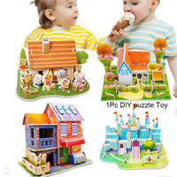 3D DIY Puzzle Jigsaw Baby toy Kid Early learning Castle Construction Fun