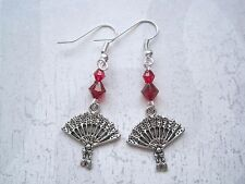 *ORIENTAL DETAILED FAN RED BEADED* Tibetan SP Earrings Gift Chinese Japanese