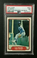 1982 Fleer LEE SMITH Chicago Cubs Rookie card ERROR reverse logo #603 PSA 7 NM