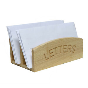 Freestanding Rubber Wood Letters Holder Mail Organiser Rack Kitchen Office Desk