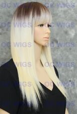 Light Blond/Brown Root Long Straight HEAT OK Synthetic Hair Full Wig WBHY 4/613