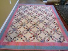 Vtg Double Wedding Ring Quilt 85x72 Stunning Condition.
