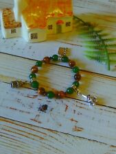 with Emerald & Yellow Tiger Eye B A Gnomes Secret Garden Womans Stretch Bracelet