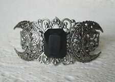 Obsidian Triple Moon Cuff Bracelet, wiccan pagan wicca witch witchcraft goddess