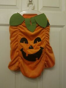 "Dog Costume Pumpkin Soft Plush jack-o-lantern LG 18""Length Neck16-20""Chest26-30"""