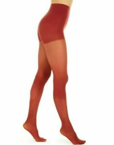 DKNY Luxe Semi Opaque Control Top Tights Crimson, Size Small Women's Stockings