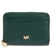 Michael Kors Pebble Leather Racing Green Zip Around Purse Wallet
