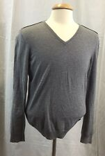 Hugo BOSS Slim Fit Gray W/Elbow Patches V-Neck Cotton & Wool Sweater Large V