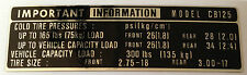HONDA CB125 CB125K TYRE CAUTION WARNING LABEL DECAL