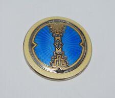 New listing Magnificent Antique Art Deco Tri Colored Enamel Guilloche Compact w Marcasites